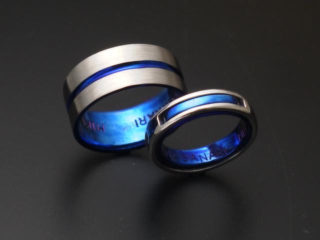 チタンにプラチナを合わせた指輪