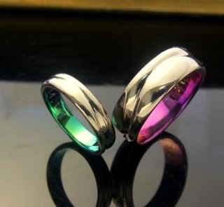チタンの紫の指輪